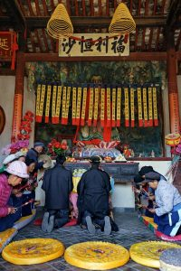 View of the ceremony for Hannah - Guan Yin Hall - Pear Orchard Temple - Shaxi Yunnan China