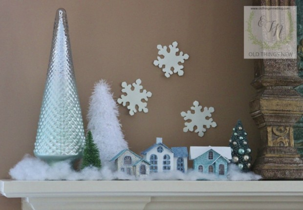 Christmas Mantle with Putz Houses 012
