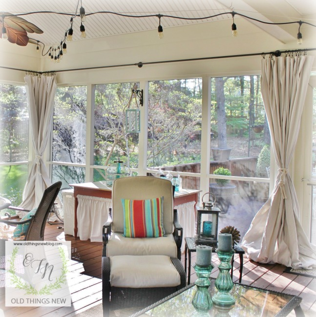 Curtains Ideas curtains for screened in porch : Old Things New – Pollen Proofing the Screened Porch