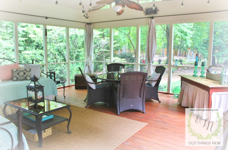 Home decor old things new here is a picture of our screened porch where we spend much of our time spring summer and fall solutioingenieria Image collections