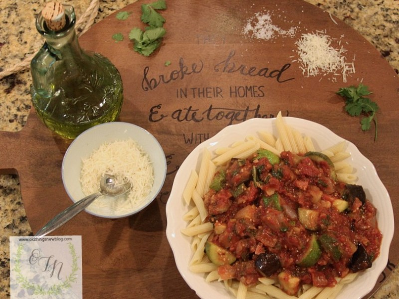 Pasta with Pan Roasted Garden Vegetables