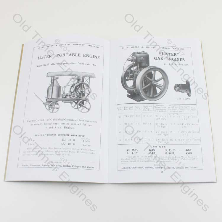 1911 Lister Petrol & Gas Engines Catalogue (Reprint)