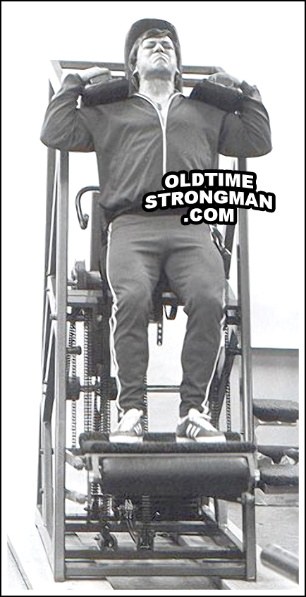 Casey Viator, using the Nautilus Upright Squat Machine during the Colorado Experiment