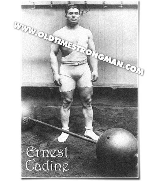 The French weightlifter Ernest Cadine with a classic globe barbell