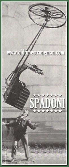 The Great Spadoni balances a dog cart on his chin