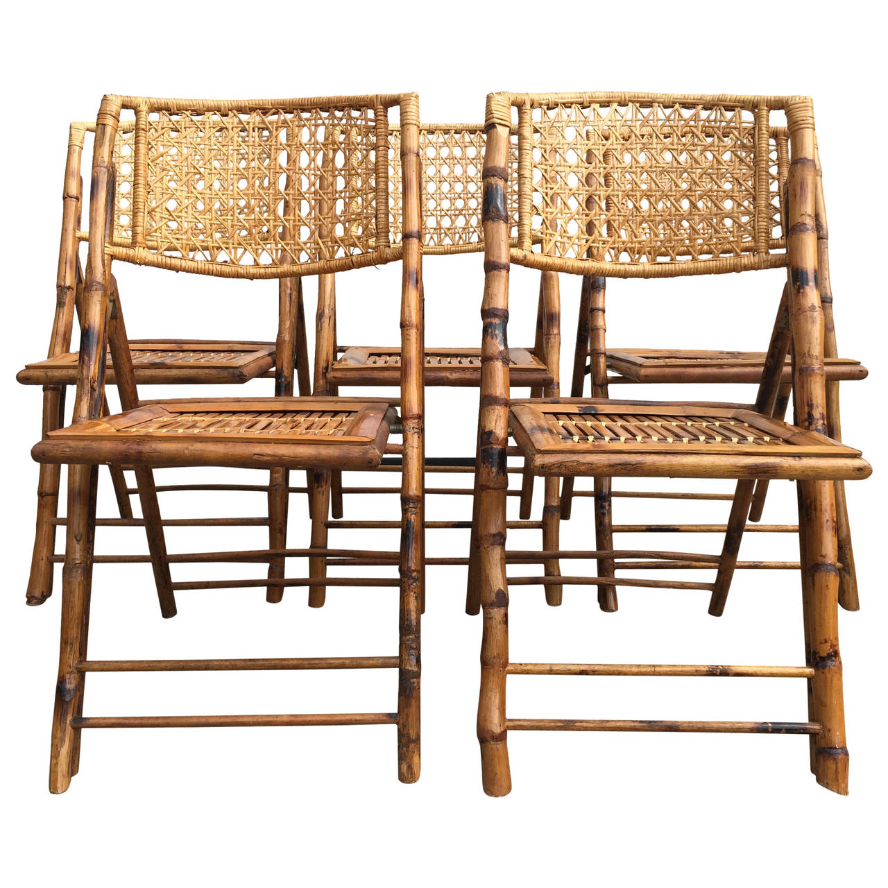 bamboo rattan chair oversized corner set of five scorched frame folding chairs with