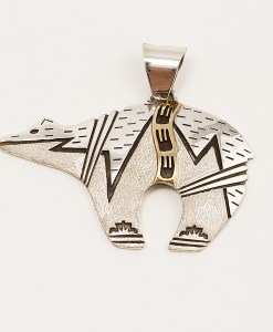 Teddy Yazzie Two Tone Bear Pendant