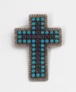 MC Turquoise and Lapis Cross Pendant