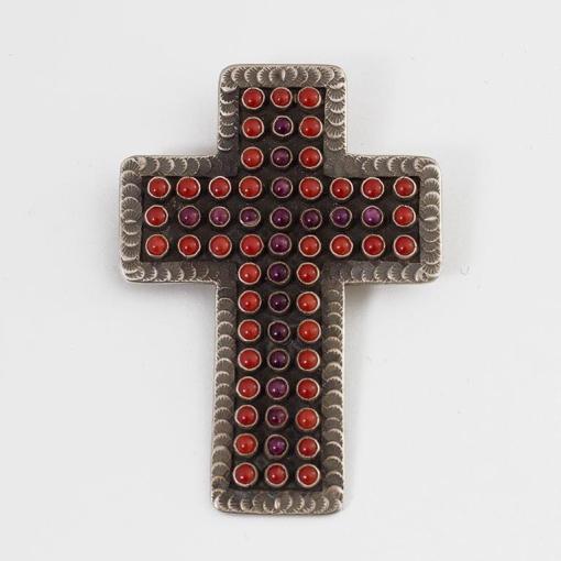 Martha Charley Coral and Sugilite Cross