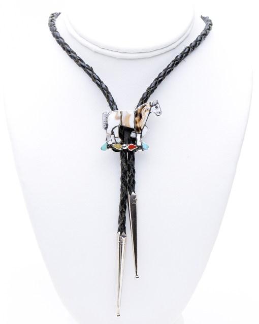 Zuni artist CL multi stone Horse Bolo Tie