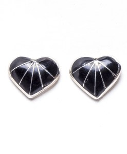 Navajo Jet Heart Shaped Earrings