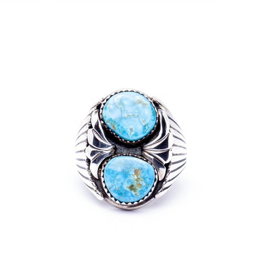 Navajo artist A Two Stone Turquoise Ring