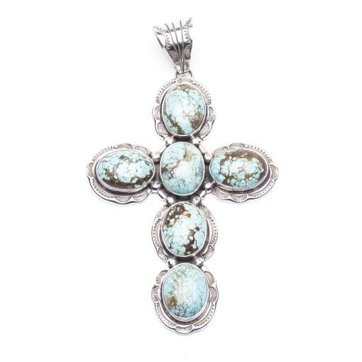 Navajo artist Henry Yazzie Turquoise Cross Pendant