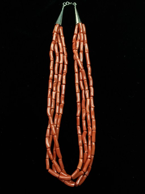 Navajo Artist Coral Beaded Necklace