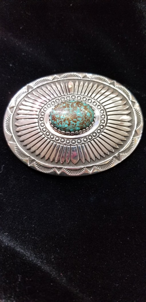 Native American buckle by Henry Yazzie with Turquoise