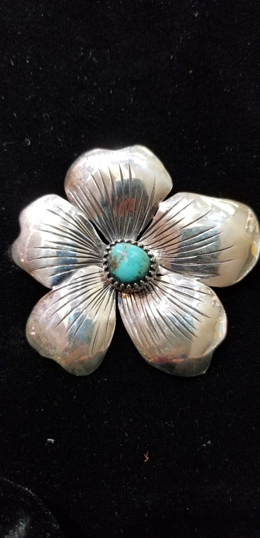 Navajo Large flower Pin by Dorothy Jeffries