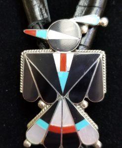 Zuni inlaid Multicolored Thunder Bird Bola Tie