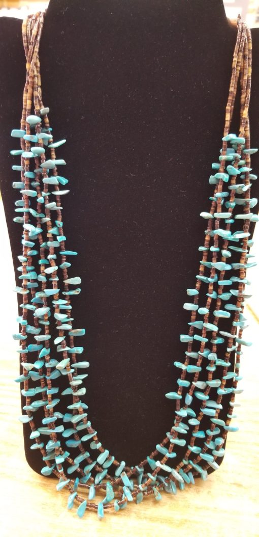 Navajo Chunky Turquoise Heishe 5 strand necklace