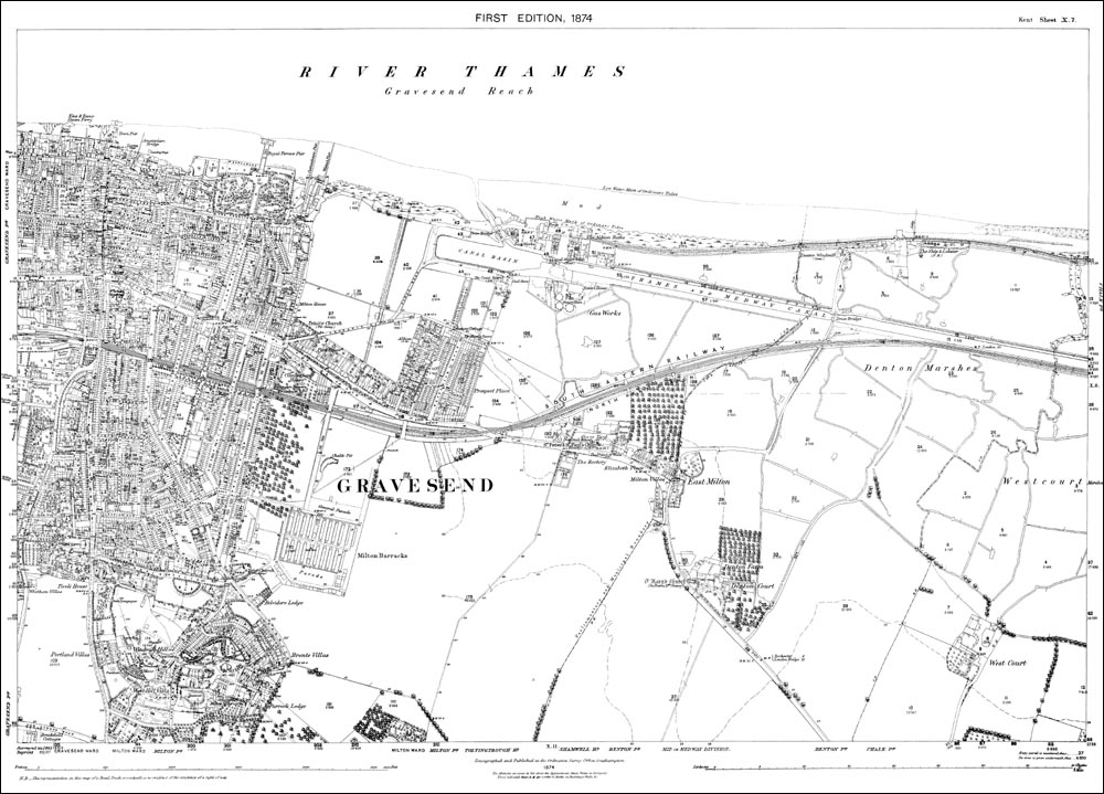 Old map of Gravesend east in 1874