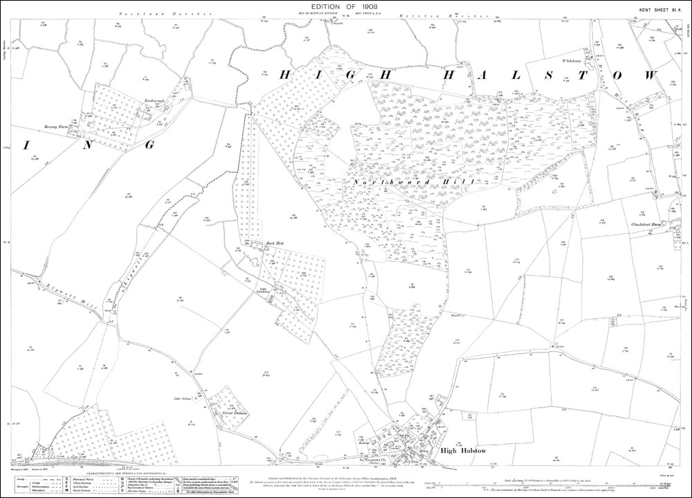 Old map of High Halstow north in 1908