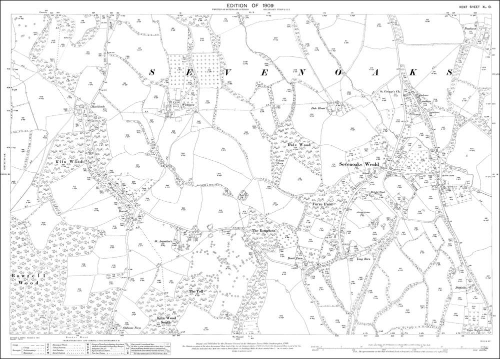 Old map of Sevenoaks Weald in 1909