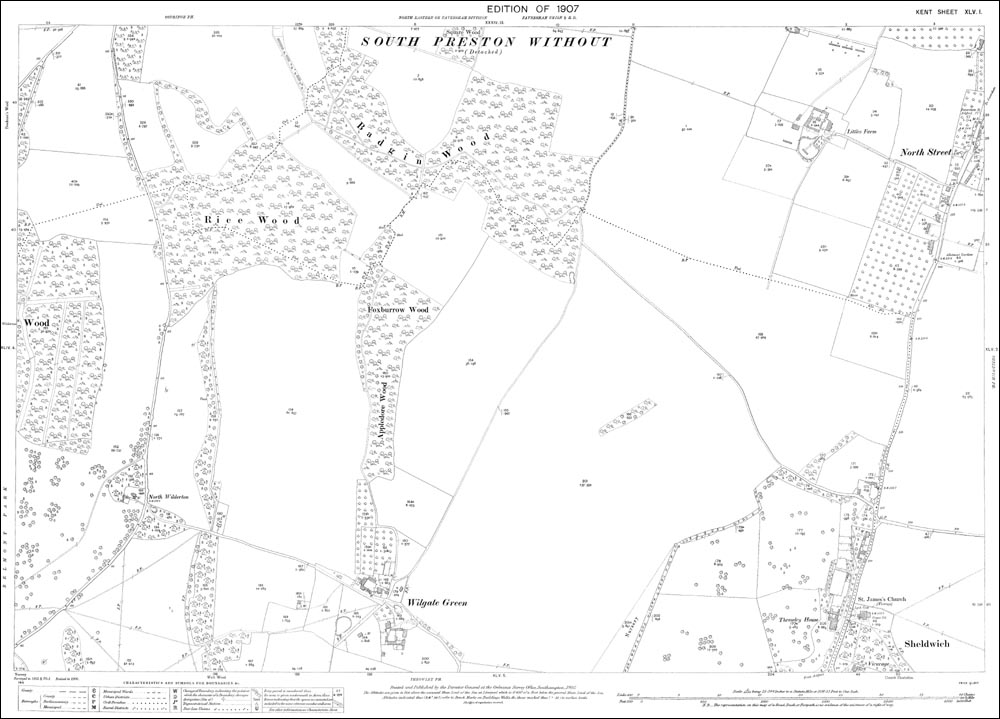 Old map of Sheldwich (north), Wilgate Green and North