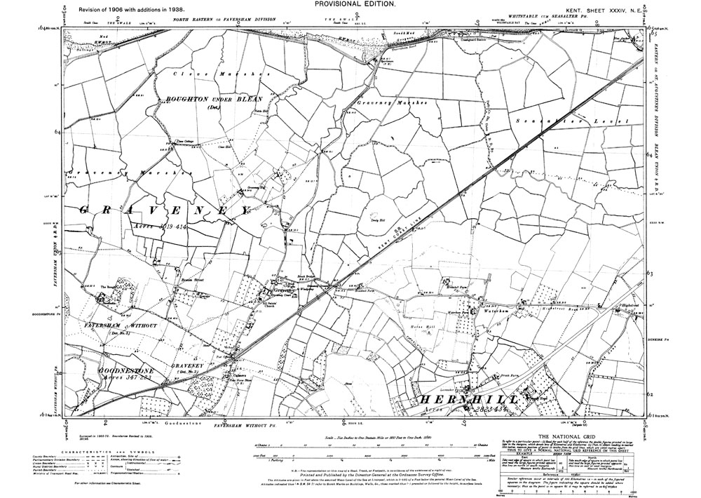 Old map of Graveney and northern Herne Hill in 1938