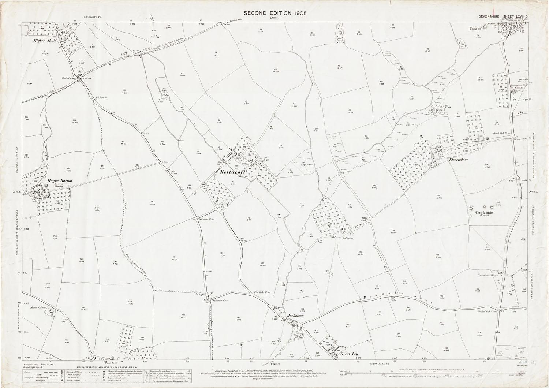 Old Ordnance Survey Map of Brampford Speke (west), Devon