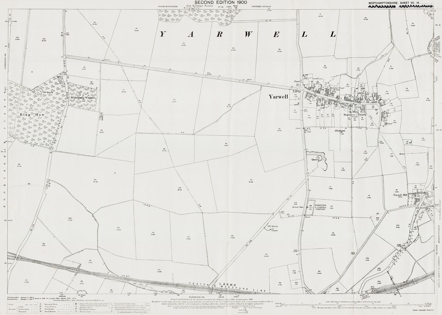 Old Ordnance Survey Map Of Yarwell Northamptonshire In