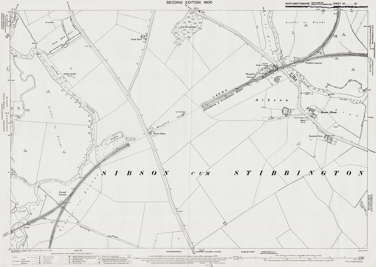 Old Ordnance Survey Map Of Wansford Station Northamptonshire In