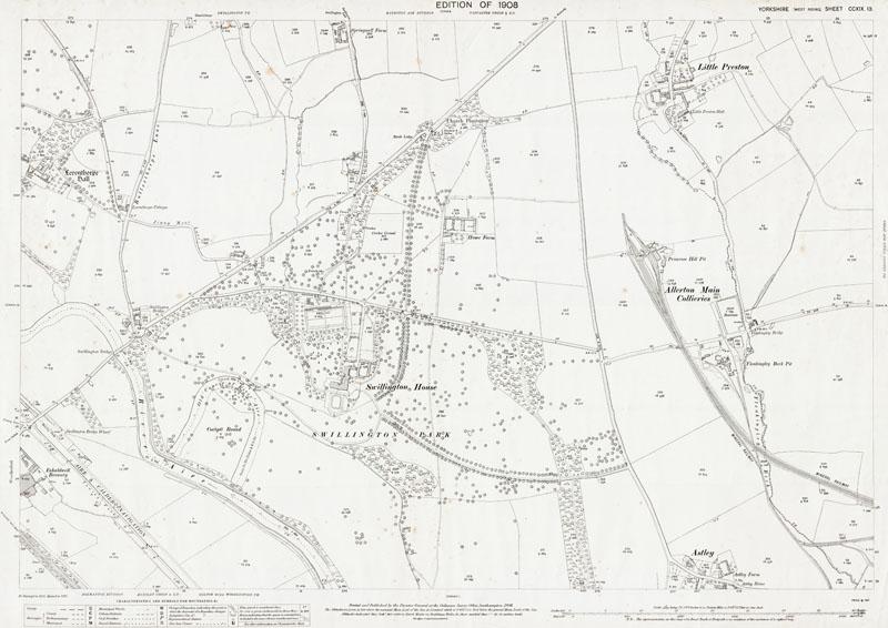 Old map of Allerton Main Collieries, Little Preston