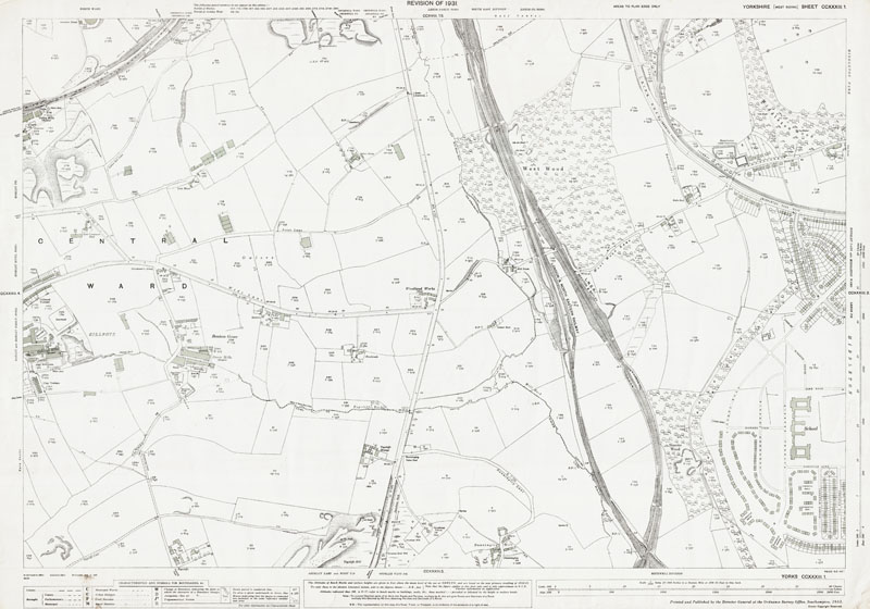 Old map of Morley east and Middleton west, Yorkshire, in 1931