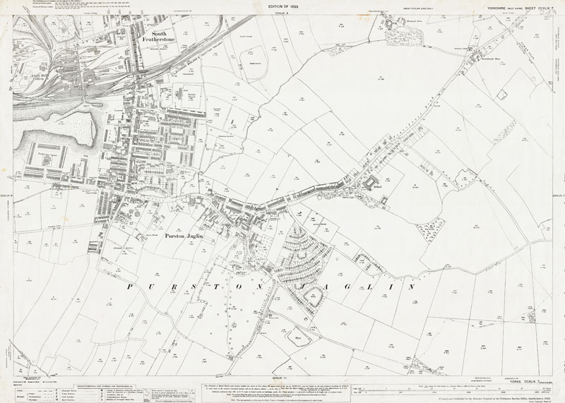 Old map of South Featherstone (south) and Purston Jaglin