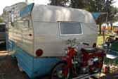 Rare 1961 Shasta Astrodome Trailer with Honda 90 Trail bike mounted on rear custom rack
