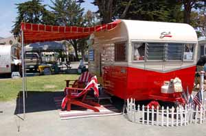 Beautifully restored vintage Shasta trailer with iconic wings, from the 1960's