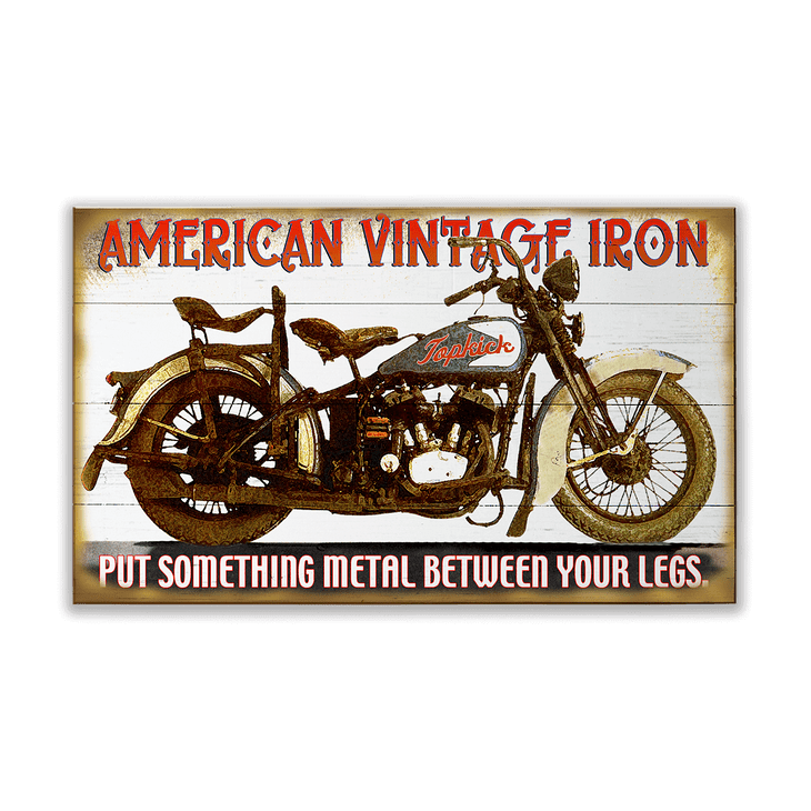 American Vintage Iron Motorcycle Sign  Old Wood Signs