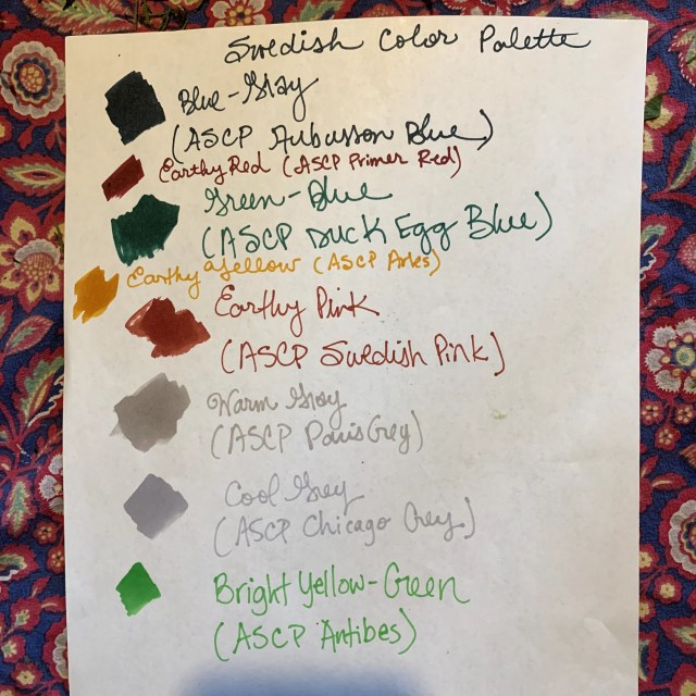 List of colors good for a Swedish Country look
