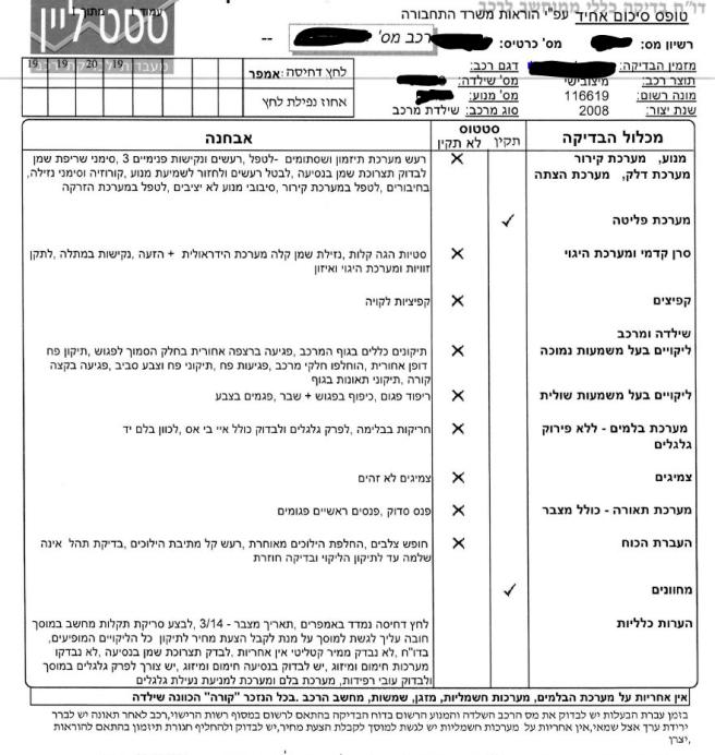 Автомобиль в Израиле - Bdikat rehev