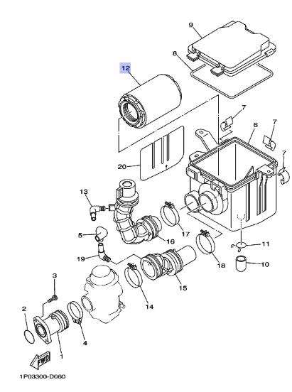 Oryginalny filtr powietrza YFM250 BIG BEAR :: olej