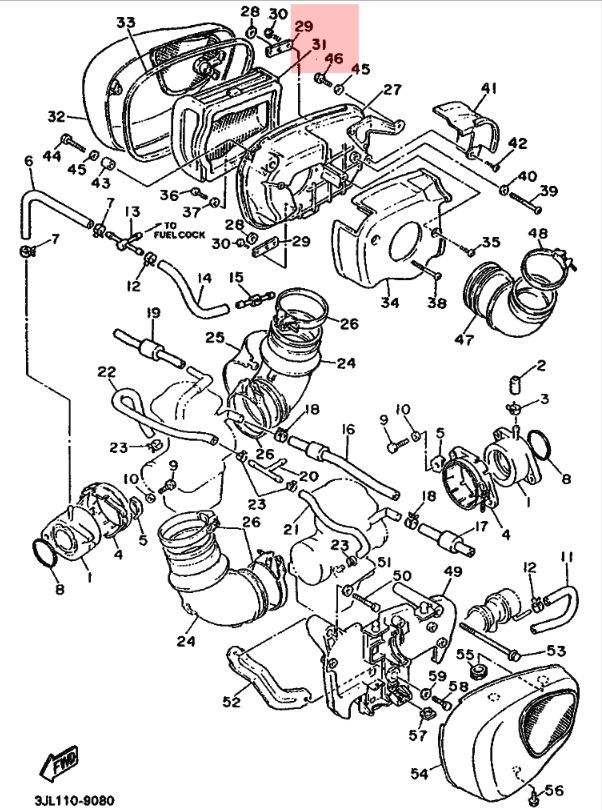 Oryginalny filtr powietrza Yamaha XV 750 Virago :: olej