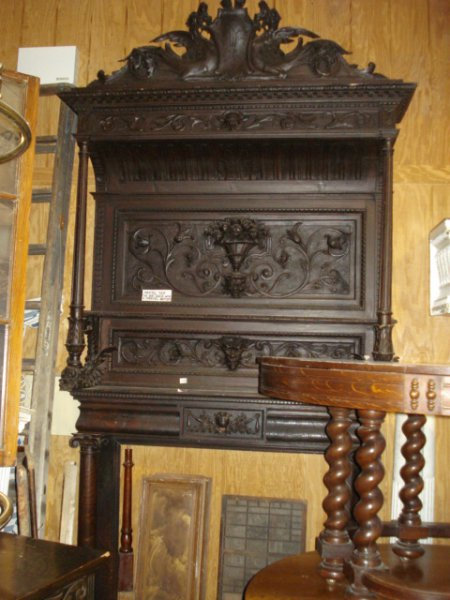Antique Wood  Marble Carved Fireplace Mantels for Sale in