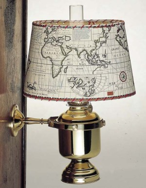 Wandlamp groot vast kap zeekaart ovaal elektrisch