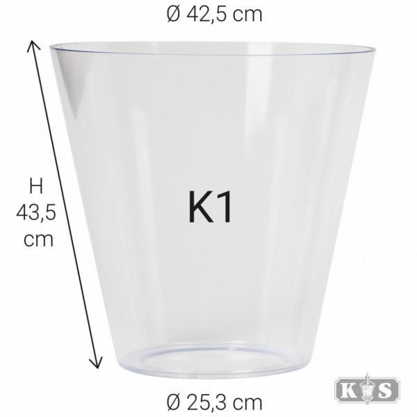 Kunststof glas K1 43x25x42, helder-0