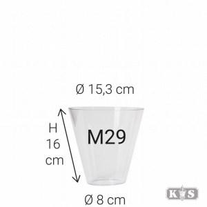 Kunststof glas M29 16x8x16, helder-0