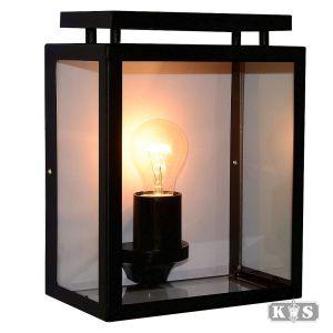 Wandlamp Vecht plat, zwart-0