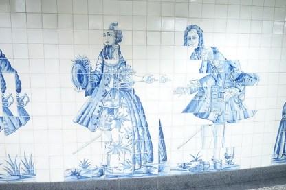 Detailaufnahme Fliesenkunst am Campo Grande in Lissabon