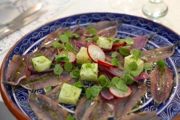 Teller mit Sardellen Filets und Salat