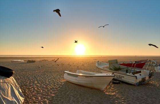Fischerboote Sonnenuntergang und Möwen am Strand Portugal Aguda