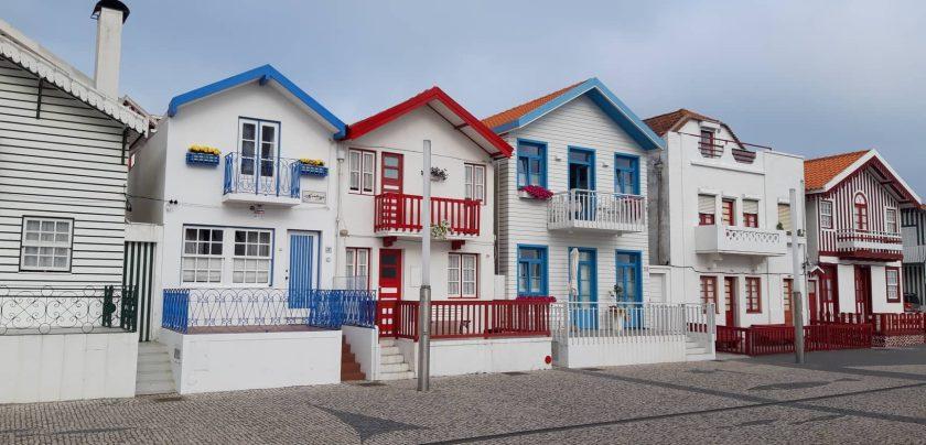 Gestreifte Häuser in Costa Nova