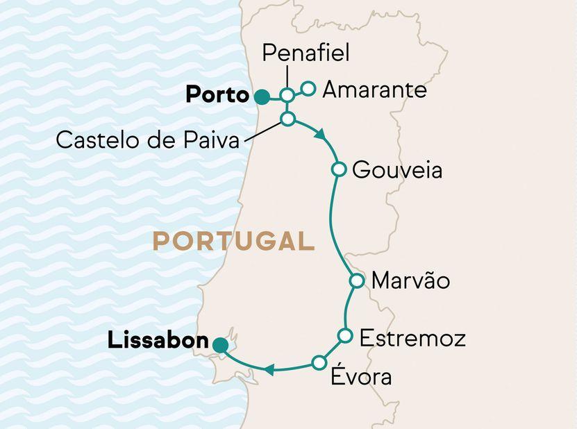 Reiseverlauf Dine & Wine im authentischen Landesinneren Portugals